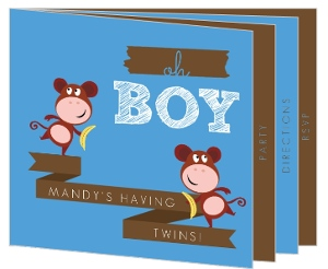 Blue And Brown Twins Monkey Baby Shower Invitation