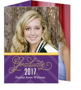 Purple and Gold Glitter Graduation Announcement