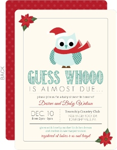 Guess Whoo Christmas Baby Shower Invitation