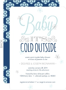 Whimsical Winnter Typographic Baby Shower Invitation