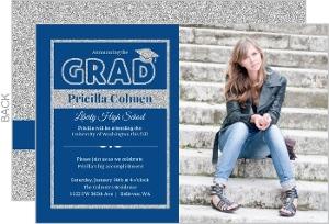 Classic Blue & Silver Faux Glitter Graduation Invitation