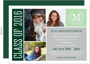 Green & Gray Monogram Seal Graduation Photo Invitation
