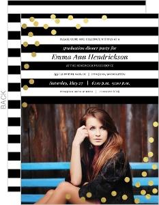 Modern Black & White Stripes And Gold Foil Confetti Graduation Invitation