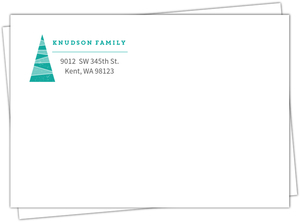 Turquoise Geometric Tree Return Address Envelope