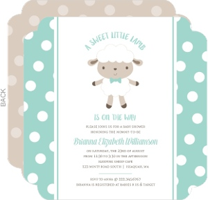 Mint Polkadot Sheep Baby Shower Invitation