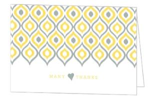 Yellow Gray Ikat Pattern Wedding Thank You Card