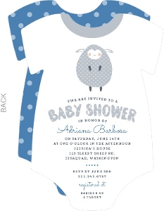 Blue & Gray Lamb Onesie Baby Shower Invitation