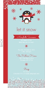 Winter Penguin Boy Baby Shower Invitation