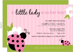 Pink And Green Ladybug Girl Baby Shower Invitations