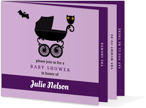 Purple Halloween Baby Shower Invitation