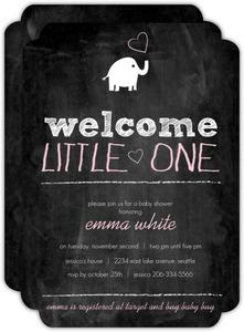 Chalkboard Elephant Girl Baby Shower Invitation