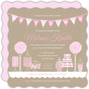 pink themed candy baby shower invitation all views