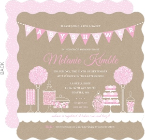 Pink Themed Candy Baby Shower Invitation