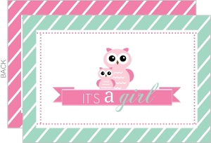 Mint Stripes and Pink Owls Girl Baby Shower Invitation