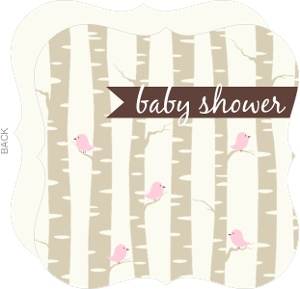 Pink Bird With Birch Trees Girl Baby Shower Invitation