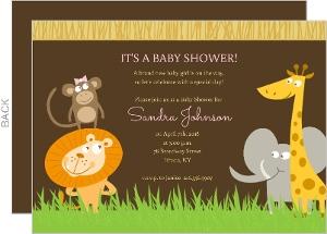 Safari Animals Girl Baby Shower Invite