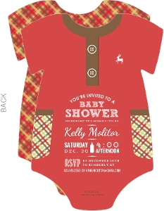 Red Holiday Baby Shower Onesie Invitation