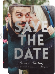 Silver Foil Bold Statement Save The Date Announcement