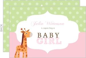 Pink And Green Giraffe Girl Baby Shower Invite