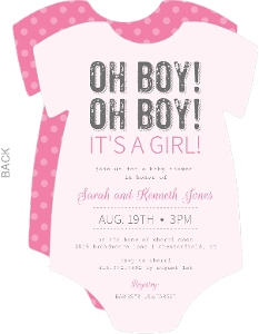 Oh Boy Its A Girl Pink And White Onesie Girl Baby Shower Invitations