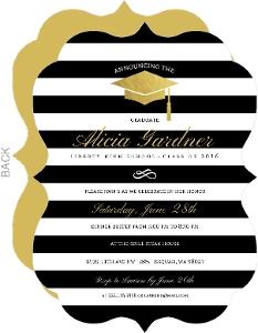 Modern Stirpes & Gold Foil Cap Graduation Invitation