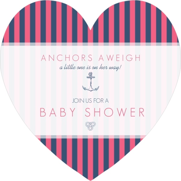 Pink and Navy Nautical Girls Baby Shower Invitation