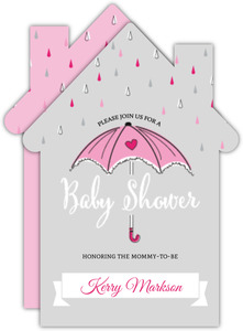 Pink Umbrella Baby Shower Invitation