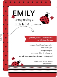 Red and Black Floral Ladybug Baby Shower Invitation