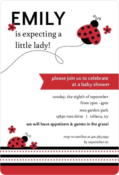 red and black floral ladybug baby shower invitation