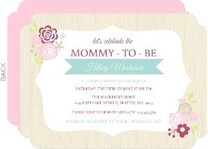 Pink Floral Frame Girls Baby Shower Invite