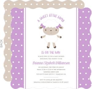 Purple Polkadot Sheep Baby Shower Invitation