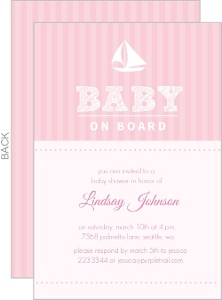 Pink Stripe Sail Boat Girls Baby Shower Invite