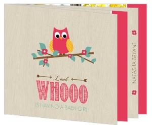 Wood Grain Flower Pink Owl Baby Shower Invitation