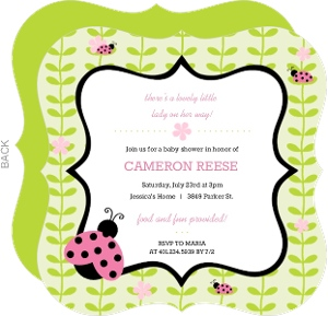 Pink And Green Flower Vines Ladybug Baby Shower Invitation