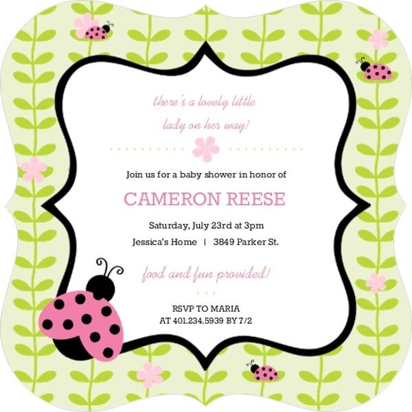 pink and green flower vines ladybug baby shower invitation