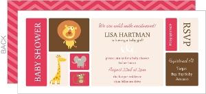 Pink And Brown Jungle Safari Baby Shower Invitation