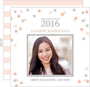 Silver Faux Glitter & Blush Confetti Graduation Announcement