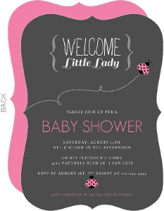Charcoal And Pink Ladybug Baby Shower Invitation