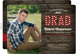 Rustic Dark Woodgrain Graduation Photo Invitation