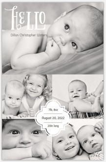 Baby Hello Photo Collage Metal Print