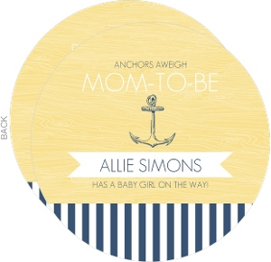 Navy And Yellow Anchor Nautical Baby Shower Invitation