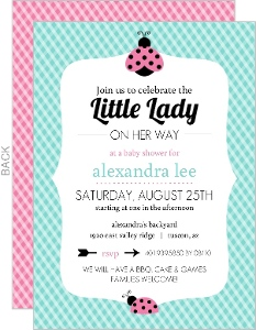 Pink And Green Gingham Ladybug Baby Shower Invitation