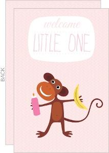 Soft Pink Monkey Baby Shower Invitation