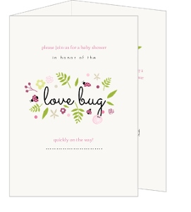 Green And Pink Mini Lady Bugs Baby Shower Invitation