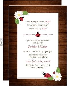 Rustic Woodgrain Ladybug Baby Shower Invitation