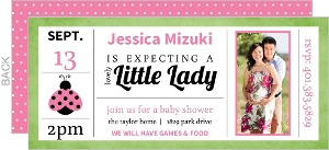 Green and Pink Modern Blocks Ladybug Baby Shower Invitation