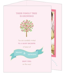 Blush Family Tree Girl Baby Shower Invitation