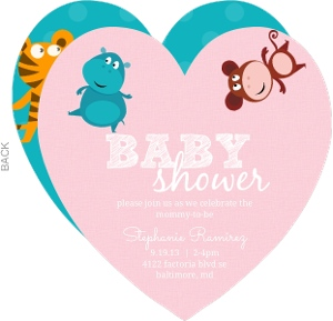 Pink Jungle Animals Baby Shower Invite