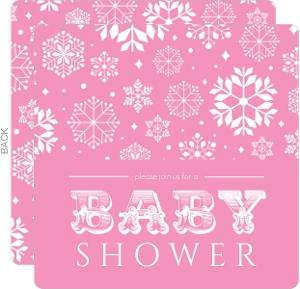 Bright Pink Baby Snow Shower Invitation