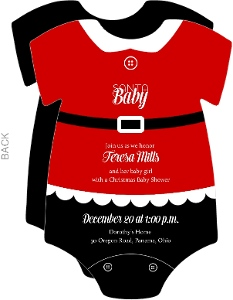Christmas Onesie Baby Shower Invitation